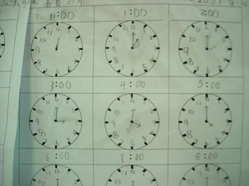 下面是孩子们写的纸张作业,要自己画钟表,写上时间,记录一天的生活.