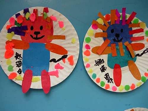 纸盘橡皮泥制作小动物