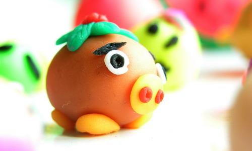 彩泥手工制作可爱的小动物头像