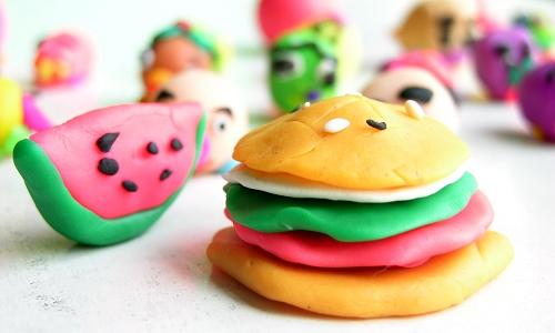 橡皮泥汉堡手工制作图片