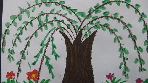 小班幼儿手指点画; 迎春花手指点画作品图片大全; 幼儿园创意手指点画