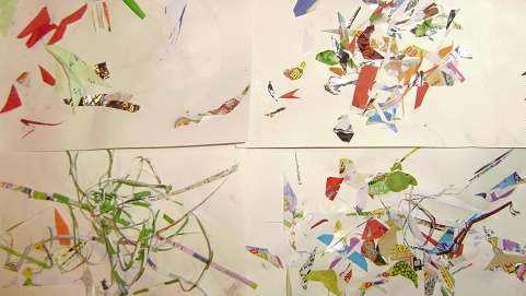 蛋壳贴画,瓜子贴画有异曲同工之妙,碎纸贴画取材方便,造型简练,