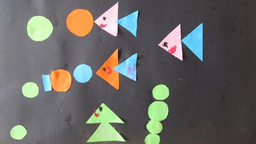 个长方形拼起来的; 用三角形拼蝴蝶图案;