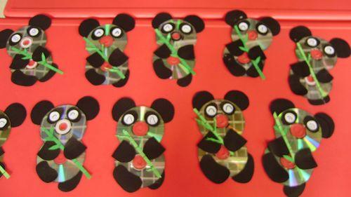 光盘手工大熊猫图解步骤