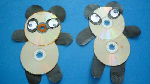 光盘手工制作熊猫步骤