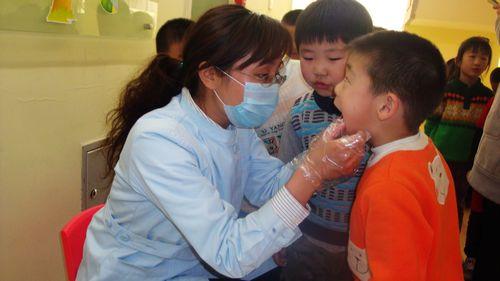 还利用牙齿模型,向幼儿介绍牙齿的结构