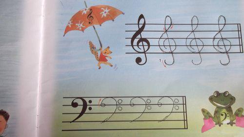 高音谱号和低音谱号的书写 西美园