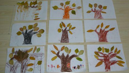 落叶画(博爱园); 秋天的树叶儿童画 儿童画秋天的景象; 图片