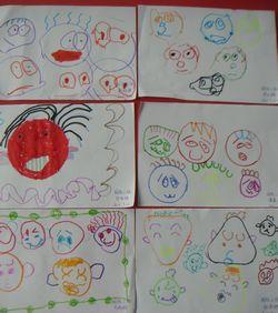 我们用自己的彩笔画出不同的表情,让表情宝宝来个大聚会,看看我