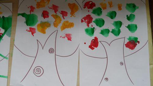 水粉印画 (大树)