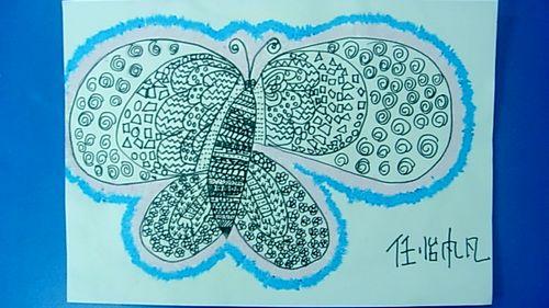 图片大全_幼儿线描画图片大全_图片素材库; 线描--美丽的蝴蝶(华城园