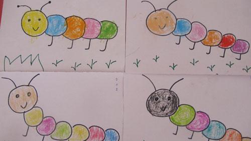 幼儿园的快乐生活——画毛毛虫(西焦园)图片