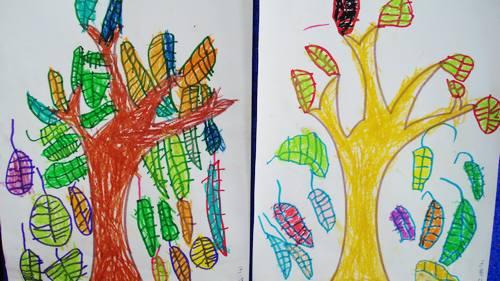 秋天的落叶儿童画_绘画分享图片