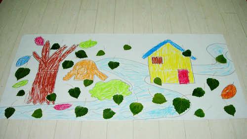 儿童树叶手工制作房子