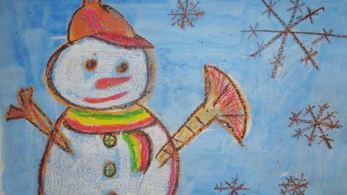 今天我们还学画了雪人