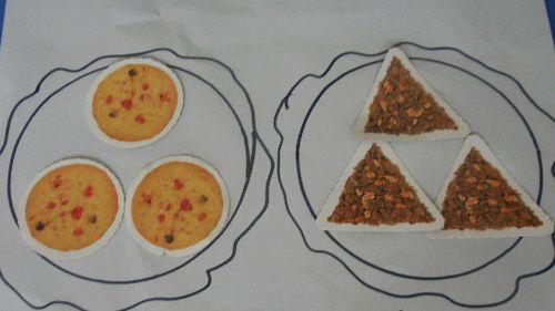 有圆形的果酱饼干,有三角形的巧克力饼干,猪宝宝请我们来帮忙分饼干!