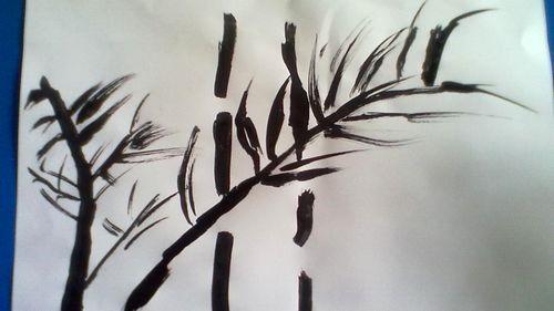 水墨画 竹子 苏州园