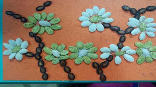 瓜子画幼儿手工图片
