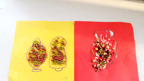 豆子粘贴画——花瓶(红星园)
