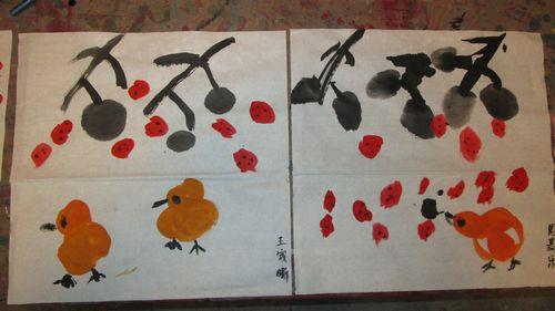 水墨画树下的鸡(博爱园)