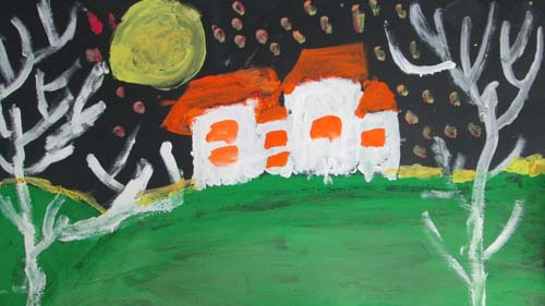 小朋友们平时画简笔画比较多,今 首先,我们用绿色的颜料画山坡,