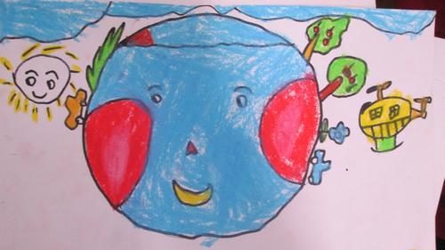 幼儿环保地球卡通画