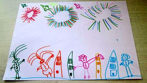 让幼儿说说自己过年时看到的放烟花的情景, 激起他们对画烟花的浓厚
