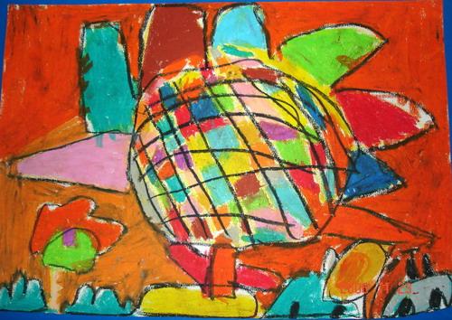 这张作品的色彩艳丽,对比强烈,向日葵被表现                   得