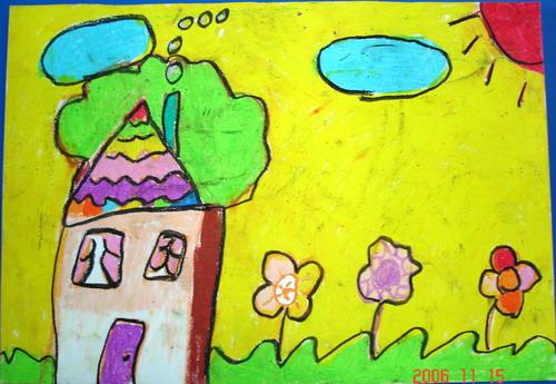 点评:画一组像童话般美丽的小房子,应该很有趣吧!小作者在紫色的背景上用极鲜艳的