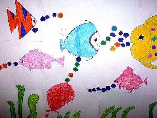 绘画可爱的小鱼